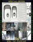 New 1.5 Bowl Fully Reversible Stainless Steel Kitchen Sink & Huge Choice of Taps