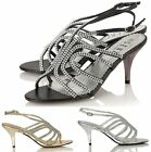 Womens Mid Heel Sandals Ladies Evening Diamante Wedding Prom Party Shoes Size