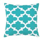 Aqua Outdoor Pillow, Fynn Ocean Outdoor Aqua Blue Quatrefoil Throw Pillow