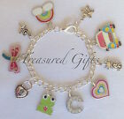 Personalised Charm Bracelet Child Colourful Rainbow Silver Letter Your Choice