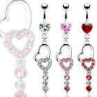 316L Heart CZ Prong Double Heart Raindrop Gem Dangle Navel Belly Ring