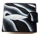 NEW GENUINE STINGRAY LEATHER,BI-FOLD WALLET,COIN PURSE ,ID CARD HOLDER, BLACK