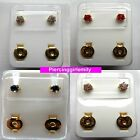 STERILE 24ct Gold Plated Claw Set STUD EARRINGS Assorted Colours Sold in pairs