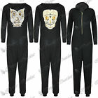 Womens Skull Sequins Owl Hoody All In One Hooded Piece Ladies Jumpsuit Onesie
