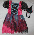 Girls Star Witch Hat & Dress Halloween Fancy Dress Costume Size 1-3 or 3-5 years