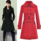 Women Girl Wool Coat Military Trench Coat Belted Double-Breasted Long Jacket