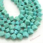 8mm, 10mm Blue Cubes Diagonal Drilled Turquoise Beads Loose Gemstones Beading