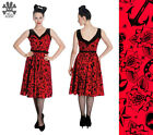 HELL BUNNY RED BLACK OLD SCHOOL TATTOO LIV FLOCK DRESS 8-16 ROCKABILLY VINTAGE