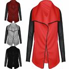 Womens PVC Faux Leather Long Sleeves Ladies Quilted Waterfall Jacket Coat Blazer
