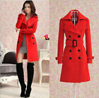 Women Girl Wool Blend Military Trench Coat Belted Double-Breasted Long Jacket