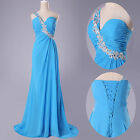 One shoulder Full Length Formal Prom Wedding Bridesmaids Evening Party dress