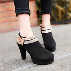New Women Party Shoes Gold Buckle Strap Faux Suede High Heels Dress Ankle Boots