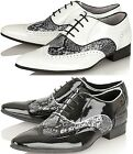 Mens Leather Lined Brogue Pointed Spats Casual Formal wedding Party Shoes Size