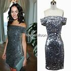 Celebrity Trend Silver Sparkling Sequins Evening Dress Party Dress Sz 8,10,12,14