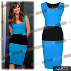 Ladies Celebrity Contrast Evening Office Pencil Midi Bodycon Dresses Size 810246