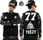 #168 Man West coast style Leather sleeves Round Collar Star Fleeces Coat Sweater