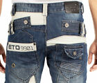 MENS NEW ETO CLASSIC FIT STRAIGHT LEG BLUE JEAN ALL SIZES 28 TO 42 S R L