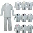 Baby Toddler Teen Formal Tuxedo Boy Suit Gray + Tie 6PC Set 9 Color Pick sz S-14