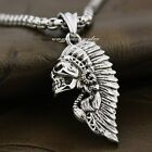 316L Stainless Steel Indian Chief Skull Mens Biker Pendant 7D006A