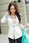 Polka Dots Full Sleeve Collarless Blazer Small Suit Office Wear for Women