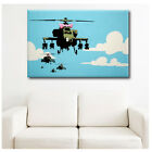 BIG Canvas Banksy Graffiti Apache Helicopter with Bow GICLEE gallery decor