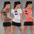 Womens 3 Colour & Black Bows Back Stretchy Top Elasticated Cap Sleeves 10 12 14