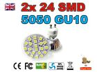 2x 4w 24 SMD 5050 GU10 Down light Ceiling Recessed Lamp Spotlight In Warm White