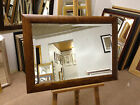 """3"""" SHAPED WALNUT STAINED SOLID OAK WALL AND OVERMANTLE MIRRORS-VARIOUS SIZES"""
