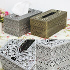 Antique Tissue Paper Box Cover Case Brass Tin Home Interior Decoration