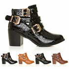 LADIES WOMENS FLAT HIGH LOW HEEL STRAPPY BIKER ANKLE CUT OUT BOOTS SHOES SIZE