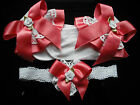 GIRLS FRILLY SOCKS & HAIR BAND WHITE & CORAL PINK SIZE 6-8 1/2 , 3-5 1/2 & 0-2