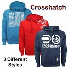 Men's Cross Hatch Branded Printed Hoodie Pull over Top Jumper Cardigan