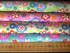 FUNKY FLOWER POWER HIPPIE 4 COLOURS - POLYCOTTON FABRIC GREEN YELLOW BLUE PINK