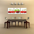 3 piece picture - CHERRIES ready to hang 3 piece mounted picture/Better than stretched canvas art