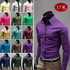 NEW 17 Colors 5 Size Mens Luxury Casual Slim Fit Stylish Solid Color Dress Shirt