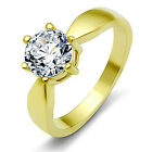 7MM CZ Round Women's Solitaire Stainless Steel Engagement Ring with Giftbox