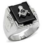 Men's Masonic 316 Stainless Steel Black Agate Freemason Signet Ring Size 8-13