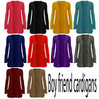 WOMEN LADIES BOYFRIEND OPEN CARDIGAN WITH POCKETS SIZE UK SIZE S/M M/L  8-14