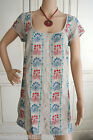 Fab Ex White Stuff Beige Red & Blue Embroidered Shirt Tunic Dress 10 12 14 16