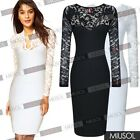 Womens Ladies V-neck Long Sleeve Lace Midi Wedding UK Party Bodycon Pencil Dress