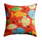 Outdoor Fish Throw Pillow, Orange, Blue, Green, Red Outdoor Decorative  Pillow