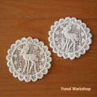 2pcs Cotton Lace Applique Forest Deer Ivory & White