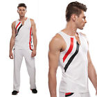 Striped Sports Tank Top/Bootcut Trousers White 21807 Gym Male Cheerleader Outfit