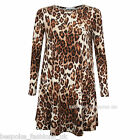 H6A New Ladies Celeb Style Leopard Print Women's Smock Swing Dress Long Top 8-24