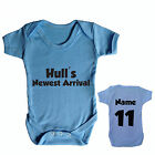 HULL CITY BABY GROW PERSONALISED FOOTBALL BABYGROW CHOOSE YOUR NAME AND NUMBER