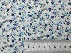 FLORAL POLYCOTTON FABRIC SMALL MEADOW MIX - CREAM BACK WITH NAVY PINK SKY PINK