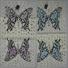 "BUTTERFLY 12 x 36"" TABLE RUNNER EMBROIDERED IN TEAL OR VIOLET"