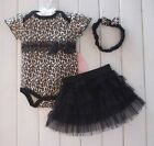 3PCS Newborn Infant Baby Clothes Leopard Romper TUTU Dress Toddler Jumpsuit 0-24