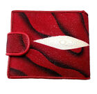 NEW GENUINE STINGRAY LEATHER,BI-FOLD WALLET,COIN PURSE ,ID CARD HOLDER, RED