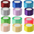 Nice 22 metres 25 yards of Satin Ribbon 50mm 5cm Multiple Colours sold by rolls